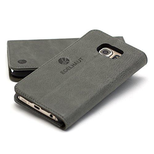 EDELHAUT Handytasche mit unsichtbarem Magnetverschluss in grau für Samsung Galaxy S7 Edge aus echtem Leder