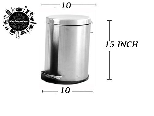 .King International Stainless Steel Plain Pedal Dustbin with Plastic Bucket, 10x15 Inches(Silver, 11L)