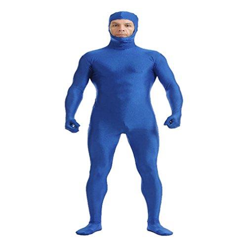 CHENGYANG Ganzkörperanzug Catsuit Face Offene Overall Zentai Ganzanzug Bodysuit für Cosplay Party Blau ()