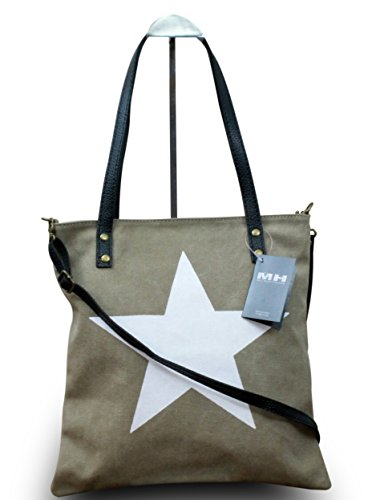 My-Musthave XXL Shopper Canvas-Tasche mit Stern Blogger Schultertasche Canvas, Farbe:Beige Khaki