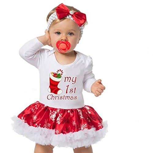 Longra Baby Mädchen Kleid Weihnachten Bekleidung Set Strampler Tütü Bodys + Stirnband Weihnachtsgeschenk für 0-18 Monate (White, 80CM 6Monate)
