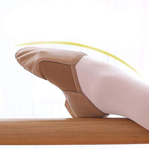DoGeek Jazzschuhe Damen Tanzschuhe Sportschuhe aus Weichem Leder Dance Schuhe mit Schweinsleder Jazz Schuhe zum hineinschlüpfen Geteilter Sohle für Kinder, und Erwachsener in Gr.35-42 - 5