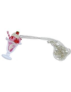 Eisbecher Halskette Kette Miniblings Kirsche Eis Sahne Shake rosa Süßes 60cm