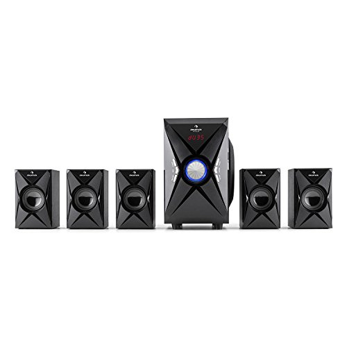Auna-X-Plus-51-Channel-Stereo-Speaker-System–Multimedia–USB–SD–AUX–FM-Radio-Tuner–MP3-Compatible–100W-Max-Power–Sidefiring-Subwoofer-with-13cm-Woofer–Remote-Control-and-Cable-Location-Include
