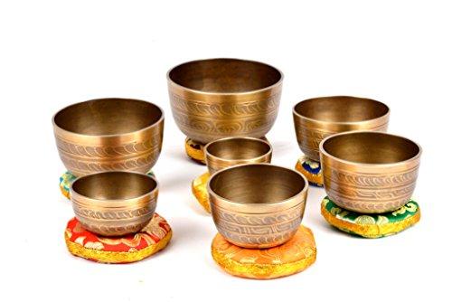 Tibetische Set von 7 Chakra Meditation Klangschale für heilende Gebet, Yoga mit Mallet & Kissen (TH-SING-1078SET7)