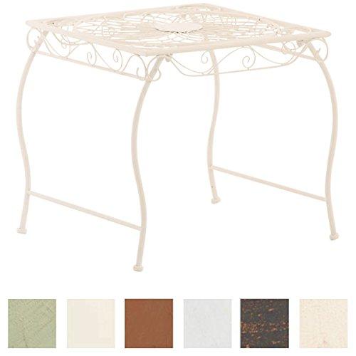 CLP Eisentisch Zarina Design I Robuster Gartentisch mit kunstvollen Verzierungen Weiß - Weiße Outdoor-beistelltisch