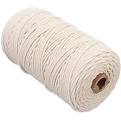 Cuerda trenzada de algodón natural de macramé 2mm Beige