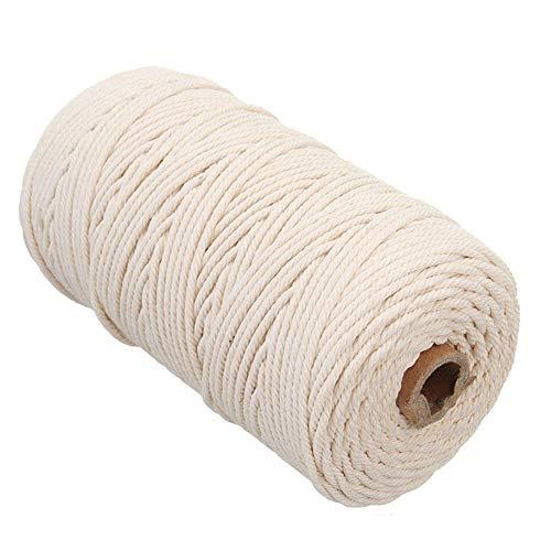Behavetw Cuerda Trenzada de algodón Natural de 3 mm x 200 m para Colgar en la Pared, para Colgar Plantas, Manualidades, Tejer, Beige, Tamaño Libre