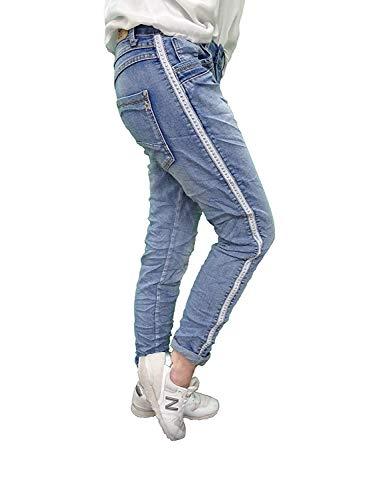 Karostar Stretch Baggy Boyfriend Jeans Nieten Seitenstreifen (XXL-44, New Denim) Denim Baggy Jeans