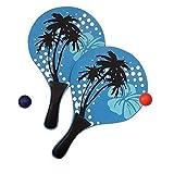 Lively Moments Beachballset / Beachballspiel / Strandspiel in blau mit drei Palmen und Hibiskusblüte - 2 Schläger und 1 Ball