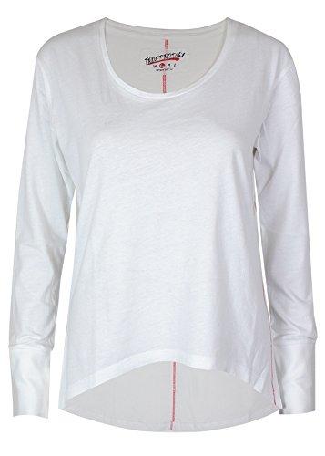 trueprodigy Casual Damen Marken Long Sleeve Einfarbig Basic, Oberteil Cool und Stylisch mit Rundhals (Langarm & Slim Fit), Top für Frauen in Farbe: Weiß 1063169-2000-L