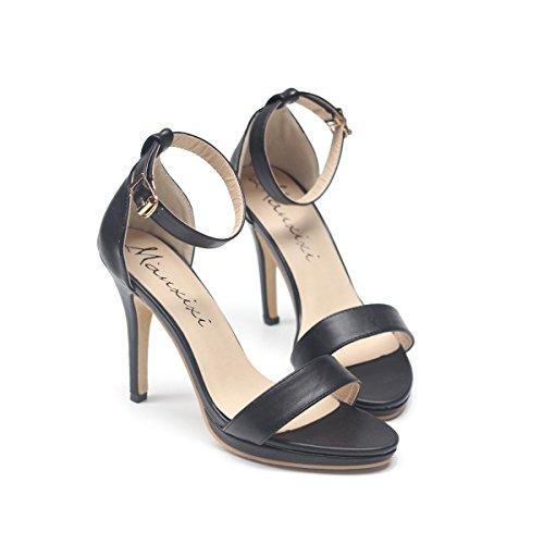 LvYuan-mxx Sandales femme / Printemps été / Décontracté Ankle Strap Cuir / talon aiguille talon pointu / Boucle / Bureau & Carrière Robe / Talons hauts 36-BLACK