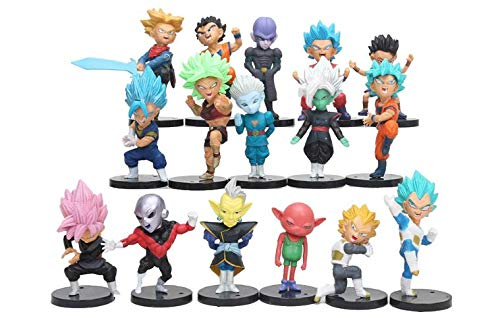 LOTE de 16 figuras de Dragon Ball DBZ DBS DB GT PVC personajes de Goku Vegeta Zamasu Trunks Jiren Hit Zeno sama Zamas Cabbe Kefla .5-8 cm aprox las figuras