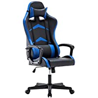 IntimaTe WM Heart Office Gaming Chair, High-back Racing Chair with Swivel Function, Back Support and Adjustable Headrest&Lumbar Cushion (Blue)