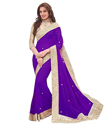 Vivan Trendz Women's Chiffon Saree With Blouse Piece. (purplee, Chiffon)