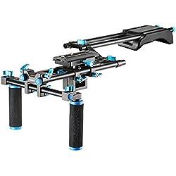 Neewer–Kit de película video hacer Rig Set Sistema de cámara para Canon, Nikon, Sony y otras cámaras réflex digitales, DV Videocámara, incluye: soporte de hombro, 15mm Sistema de riel, en forma de Z Raised Rail (azul)