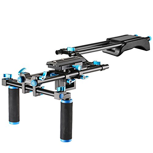 Neewer Kamera Movie Video Rig Set System Kit für Canon Nikon Sony und anderen DSLR-Kameras, DV-Camcorder, gehören: Shoulder Mount, 15mm Rail Rod System, Z-Form erhöht Schiene (blau)
