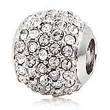 Andante-Stones Perlina Pavé Bead in argento 925 con cristallini color bianco neve Ciondolo da donna Charm per bracciali e collane europei + Sacchetto di organza