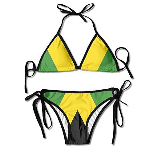 Fashion Women Jamaica Flag Printing Sexy Two-Piece Bikini Set Beach Bathing Suit