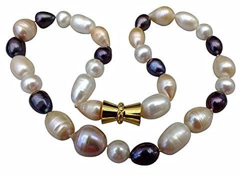 Einzigartige Creme / Pfirsich / schwarze natürliche barocke Perlenhalskette aufgereiht