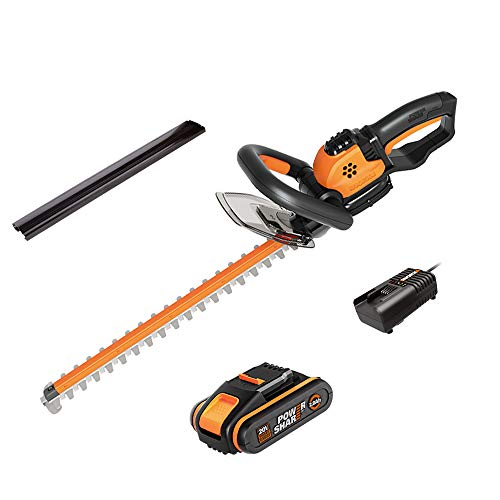 WORX 20V Akku-Heckenscheren WG261E, Powershare, 2,0 Ah, lasergeschnitte Dual Schnittklingen 44cm für gleichmäßige Schnitte, reduzierte Vibrationen, Schutzköcher, 1Std. Schnellladegerät, 18V