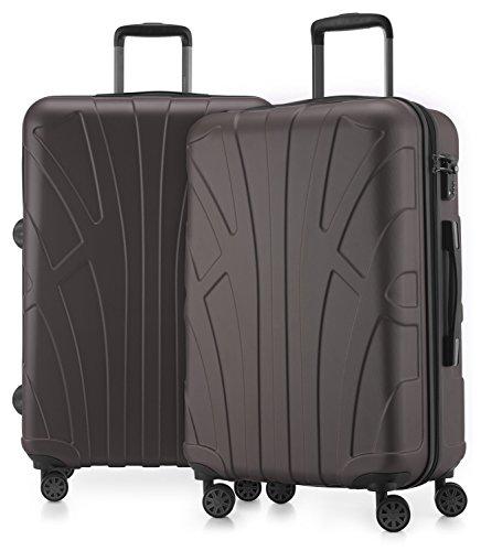 Suitline - 2er Koffer-Set Trolley-Set Rollkoffer Hartschalen-Koffer Reisekoffer, TSA, 66 cm, 100% ABS, Matt, Titan
