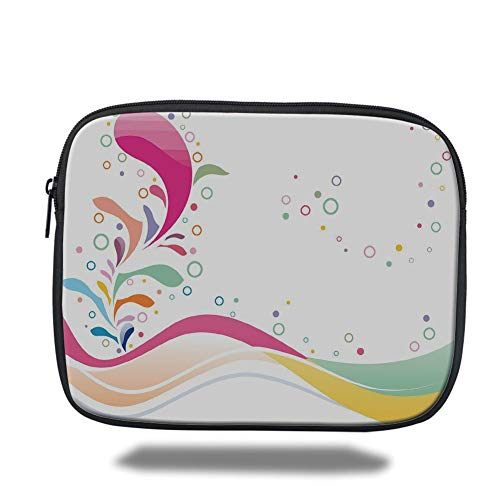 Tablet Bag for Ipad air 2/3/4/mini 9.7 inch,Floral,Cute Vivid Bubbles Circular Dots with Flower Leaves Kids Girls Baby Childish Design Decorative,Multicolor,3D Print - Floral Print Bubble