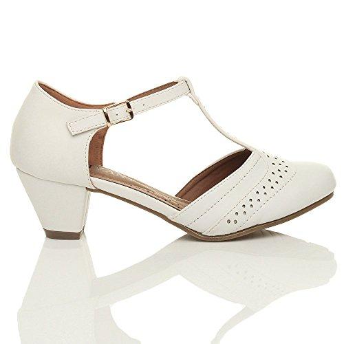 Femmes talon moyen salomé découper chaussures richelieu escarpins pointure Blanc mat