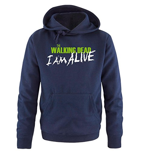 Comedy Shirts - The Walking Dead - I AM ALIVE - Uomo Hoodie cappuccio sweater - taglia S-XXL different colors blu navy / bianco-verde