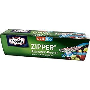 Toppits Zipper, Allzweck-Beutel mit Reißverschluss, 1er Pack (12 x 1Liter)