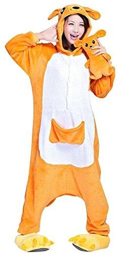 ABYED® Jumpsuit Tier Karton Fasching Halloween Kostüm Sleepsuit Cosplay Fleece-Overall Pyjama Schlafanzug Erwachsene Unisex Lounge,Erwachsene Größe M - für Höhe 159-166CM Känguru