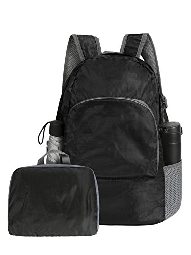 ARTALL Backpack Waterproof Collapsible Rucksack for Travel and Sports£¬Foldable Lightweight Daypack Portable Bag 20 Liters Pack for Girls and Boys, Black (Lightweight Tote Travel Bag)