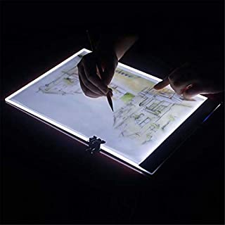 AKUKA 2 pcs Diamond Painting Light Pad Board Box - Ultrathin 3.5mm A4 Tablet LED Art Embroidery Stencil Drawing Cross Stitch Kits with Free Tools,59inch USB Plug (2X Infinite dimming & with Scale)