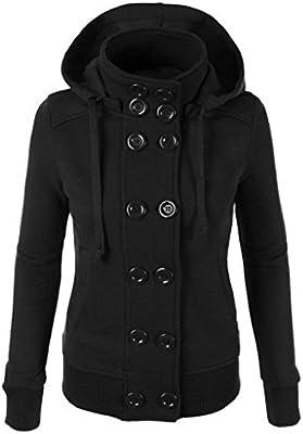 Tongshi Las mujeres del invierno caliente de doble botonadura con capucha larga delgada Outwear la capa de la chaqueta
