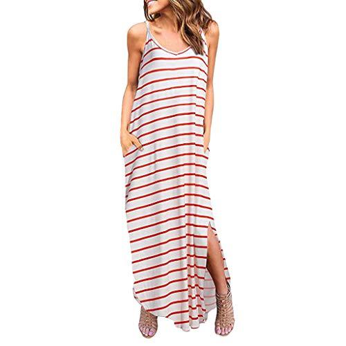 KPILP Frauen Maxikleid Cocktailkleid Sommer Plus Size Elegante Lässige Blumendruck Taschen Riemchen Langes Kleid Strand Blusenkleid Sommerkleid(Rot 1,EU-40/CN-S)
