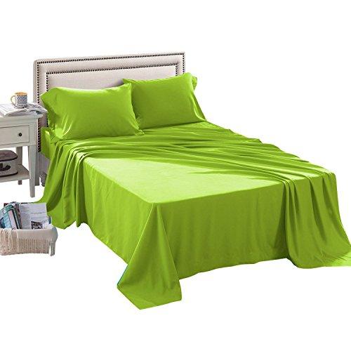 HollyHOME 1500weichen Hypoallergen gebürstetem Mikrofaser Bed Sheet Set, 4Stück Twin Size Blatt, elfenbeinfarben, Mikrofaser, lindgrün, Queen -