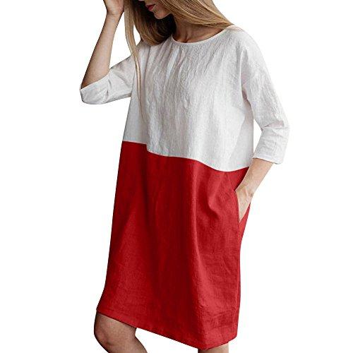 QUINTRA Damen Casual Patchwork 1/2 Ärmel Baumwolle Leinen Lose Taschen Tunika Kleid … (Rot, XL)