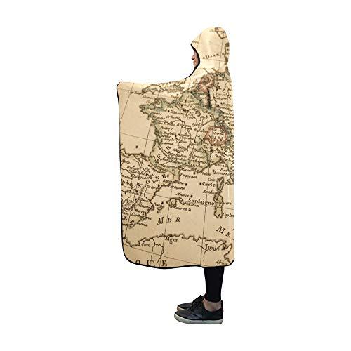 JOCHUAN Antike alte Karte Europa-Decke mit Kapuze 60 x 50 Zoll Comfotable Hooded Throw Wrap -