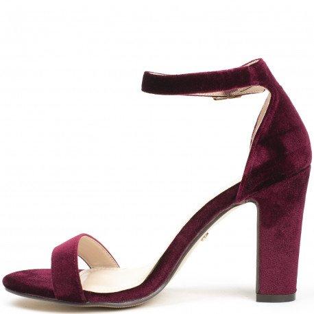 Ideal Shoes - Sandales à talon carré effet velours Henola Rouge