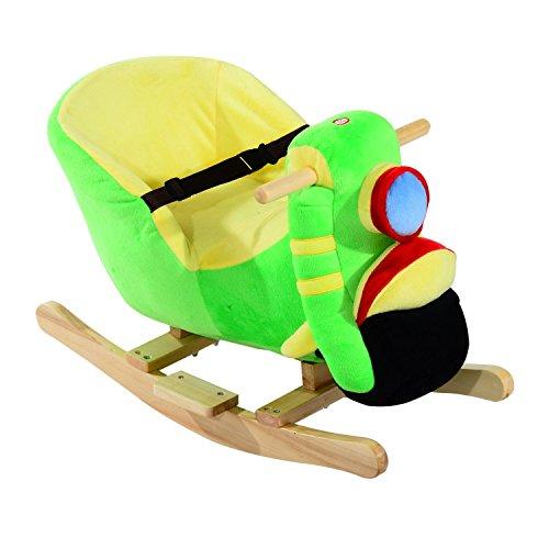 Homcom cavallo a dondolo in legno motocicletta per i bambini 60 x 33 x 45cm verde