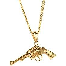 PAURO acero inoxidable Gun Decoración CS mens colgante Hip Hop CF pistola collar con cadena negro / plata / oro para Biker