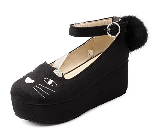 Senhoras Allhqfashion Nubuck Bombas Cor Misturada Fivela Redonda Toe Salto Médio Sapatos Pretos