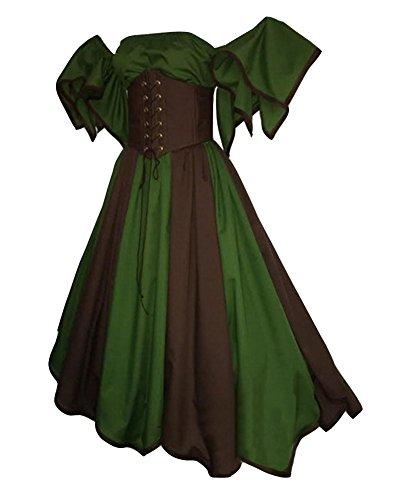 GladiolusA Damen Renaissance Mittelalter Kostüm Viktorianisches Kleid Retro Partykleid Grün 3XL