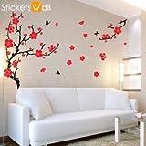 Large Plum Blossom Wall Sticker - Orange