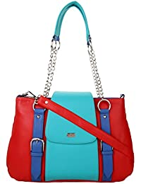 K London Women's Handbag With Detachable Side Strap (Red,Cyan,Blue) (1309_Red)