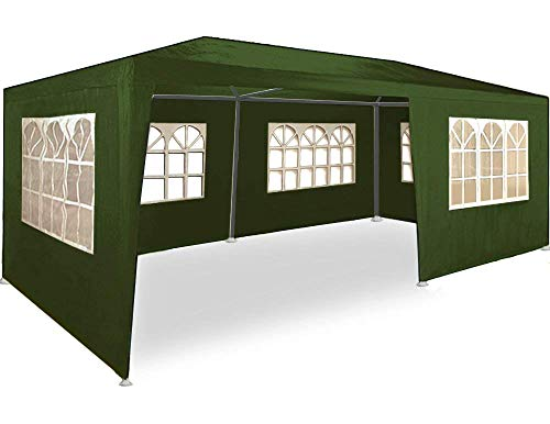 Maxx® gazebo da giardino, 3 x 6 m, con 6 pareti laterali, 4 con finestre e 2 chiuse, giunzioni plastiche, impermeabile, con picchetti e corde di tensione, verde
