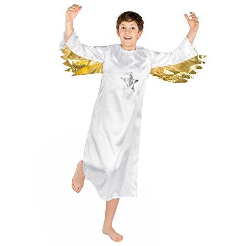 Jungen Kostüm Engel | Himmlisches Gewand mit aufgenähten goldenen Flügeln (12-14 Jahre | Nr. (2017 Kostüme Beliebte Paare Halloween)