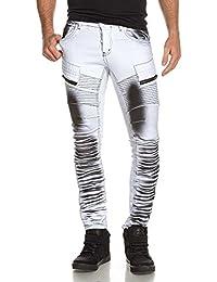 BLZ jeans - Jean homme blanc surteint noir effet nervuré