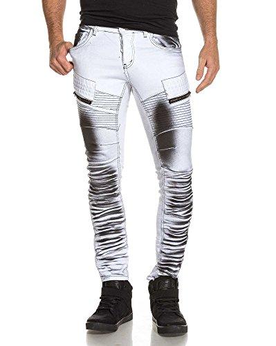 BLZ jeans - Jean homme blanc surteint noir effet nervuré - couleur: Blanc - taille: FR 42 US 33