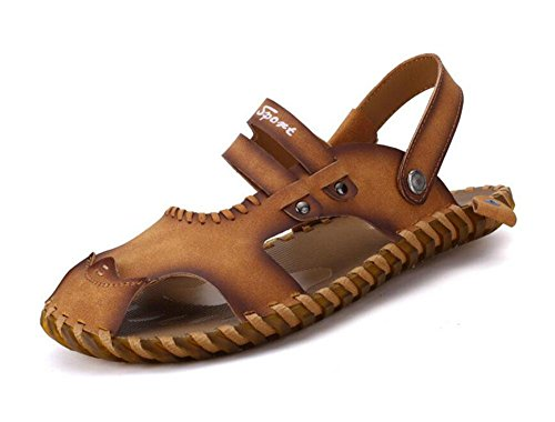 SHIXR Men Open Back Slippers Sommer Handgenäht Breathable Sandalen Weiche und bequeme Casual Cool Pantoffeln light brown